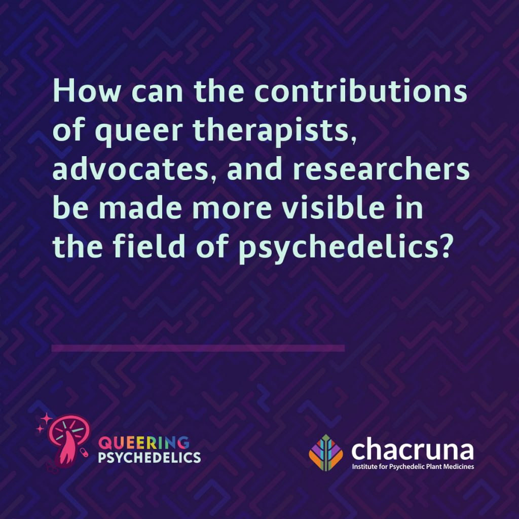 How can the contributions of queer therapists, advocates, and researchers be made more visible in the field of psychedelics?