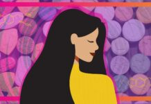 A woman with long dark hair and yellow shirt, background is an image of ecstasy pills