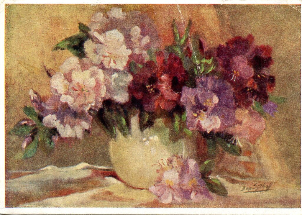 A postcard of a painting of a vase of flowers. This postcard was sent to Vestdijkkring in the 1950s at Veluweland, a Dutch psychiatric clinic