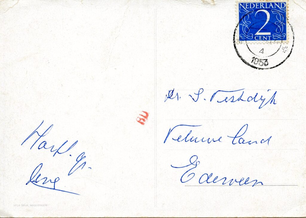 Back of postcard sent to Vestdijkkring in the 1950s at Veluweland, a Dutch psychiatric clinic