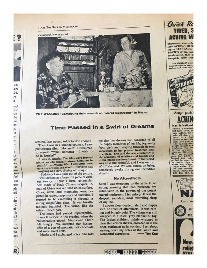 A page of Valentina Wasson's article in This Week, featuring a photograph of George and Valentina Wasson